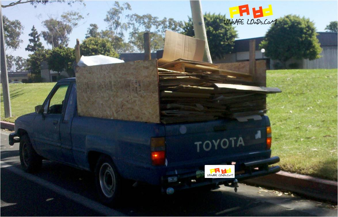 Blue pickup recycling load